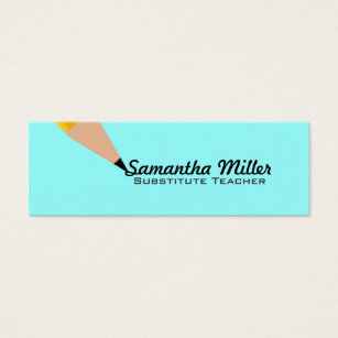 Substitute teacher business cards templates zazzle substitute teacher skinny business cards colourmoves