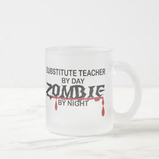 Substitute Teacher Zombie Frosted Glass Coffee Mug