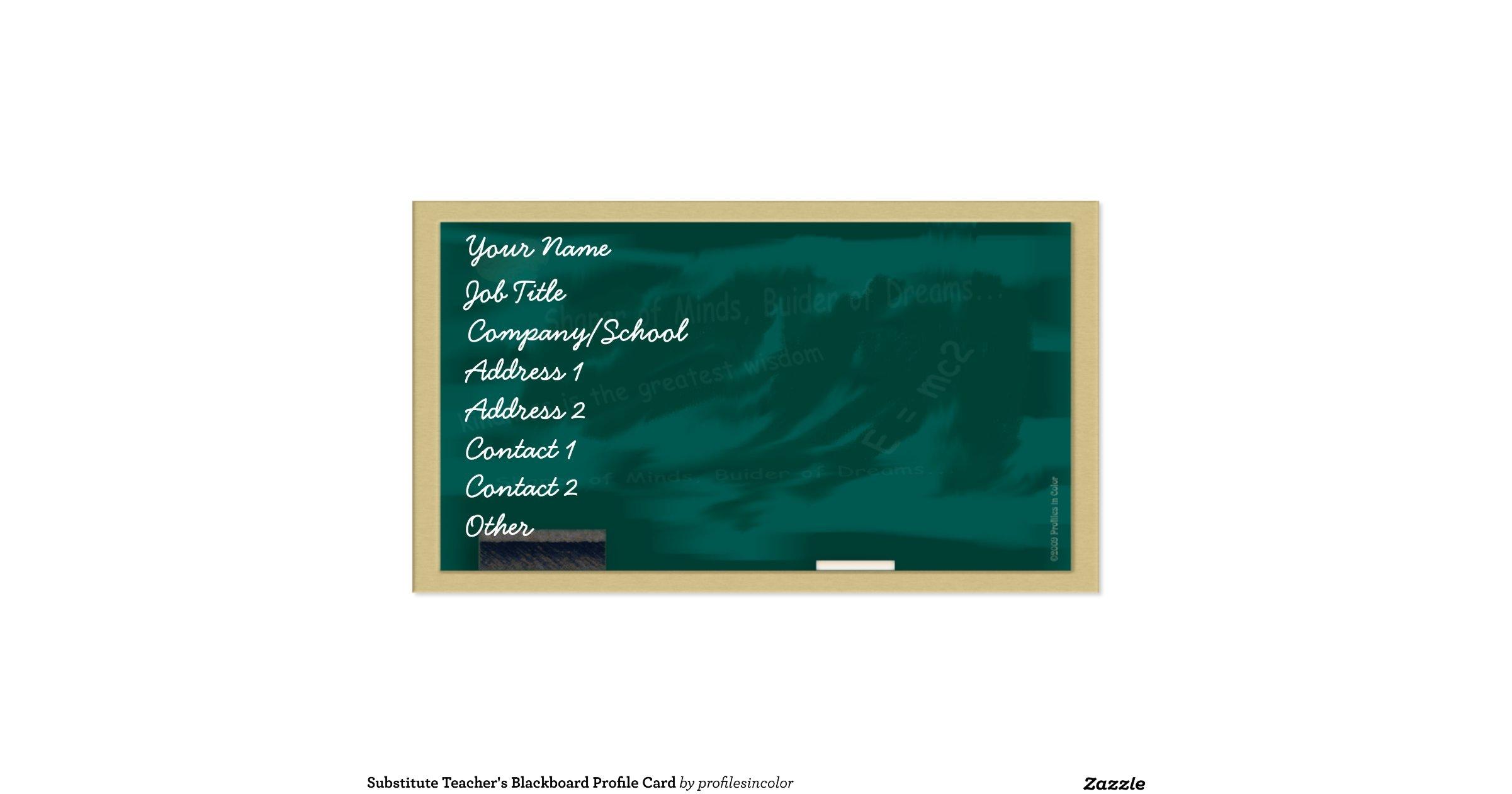 substitute teachers blackboard profile card double sided