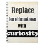 Substituya el miedo del desconocido… cuaderno