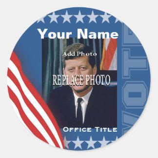 Substituya la plantilla de la campaña de la foto pegatina redonda