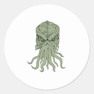 Subterranean Sea Monster Head Drawing Classic Round Sticker