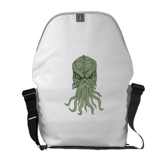 Subterranean Sea Monster Head Drawing Messenger Bag