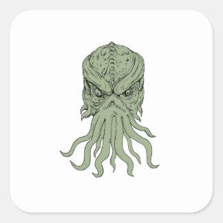 Subterranean Sea Monster Head Drawing Square Sticker