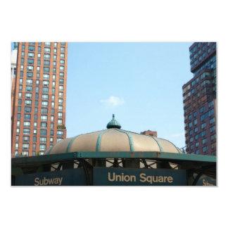 """Subterráneo cuadrado NYC de la unión Invitación 3.5"""" X 5"""""""