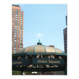"""Subterráneo cuadrado NYC de la unión Invitación 4.25"""" X 5.5"""""""