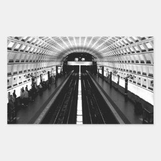 subterráneo del tren del metro de Washington de la Pegatina Rectangular