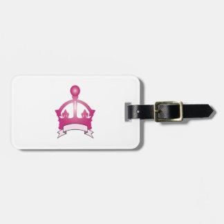 Subtítulo rosado de la corona etiquetas bolsas