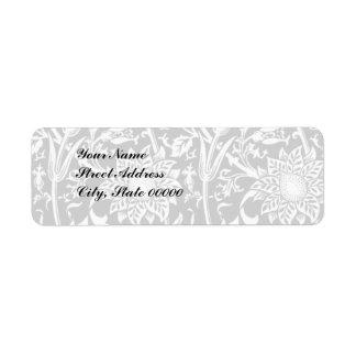 Subtle Black & White floral Address label