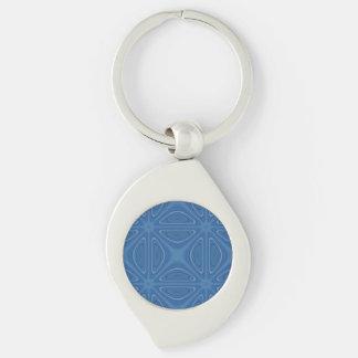 Subtle Blue Crisscross Geometric Pattern Silver-Colored Swirl Metal Keychain