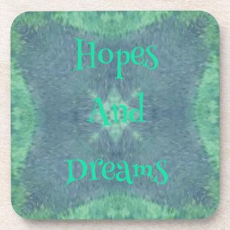 Subtle Blue Green Hopes And Dreams Design Beverage Coaster