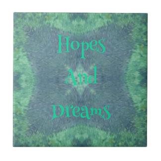 Subtle Blue Green Hopes And Dreams Design Ceramic Tile