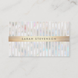 Subtle Bokeh White Stripes Gold Stripe Business Card