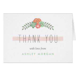 Subtle Chic Blush Pink Mint Green Floral Thank You Card