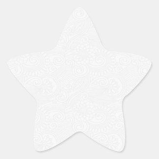 Subtle Damask Swirl Patterned Background Star Sticker