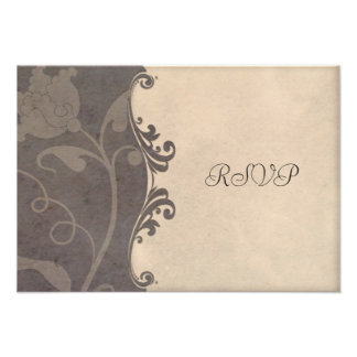 Subtle Earthen Tones Floral Wedding RSVP Custom Invite