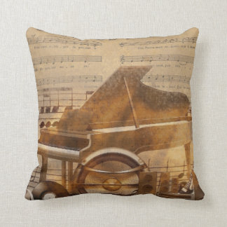 Subtle music lovers cushion, piano, instruments pillows