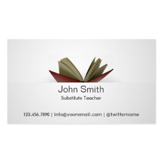 Subtle Open Book Substitute Teacher Business Card