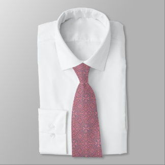 Subtle Ornate Filigree Oval Cross Pink Mosaic Tile Neck Tie