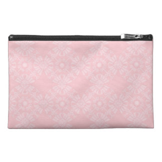 Subtle Pale Pink Geometric Floral Travel Accessories Bags