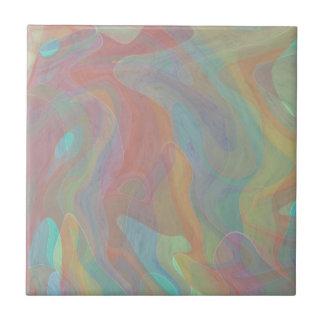 Subtle Pastel Watercolor Abstract Art Ceramic Tile