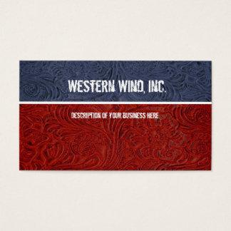 Subtle Patriotic Tooled Leather Business Card