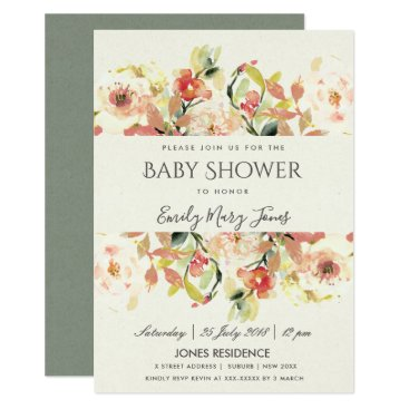 Bride Themed SUBTLE PEACH PINK WATERCOLOR FLORAL BABY SHOWER CARD