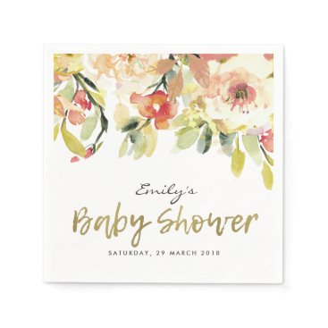 Bride Themed SUBTLE PEACH PINK WATERCOLOR FLORAL BABY SHOWER PAPER NAPKIN