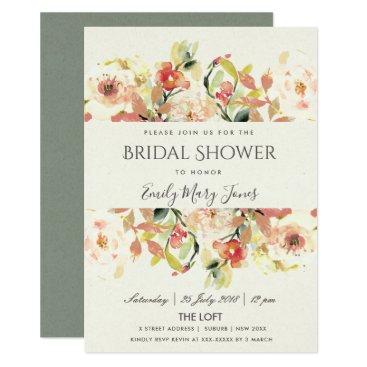 Bride Themed SUBTLE PEACH PINK WATERCOLOR FLORAL BRIDAL SHOWER CARD