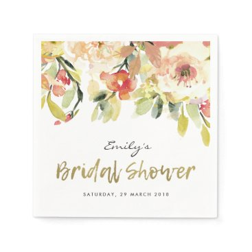 Bride Themed SUBTLE PEACH PINK WATERCOLOR FLORAL BRIDAL SHOWER PAPER NAPKIN