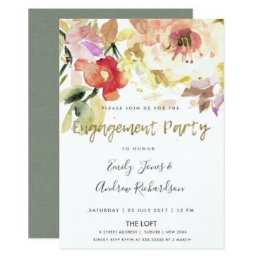 Bride Themed SUBTLE PEACH PINK WATERCOLOR FLORAL ENGAGEMENT CARD