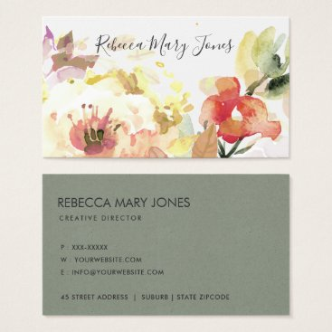Bride Themed SUBTLE PEACH PINK WATERCOLOR FLORAL PERSONALISED BUSINESS CARD
