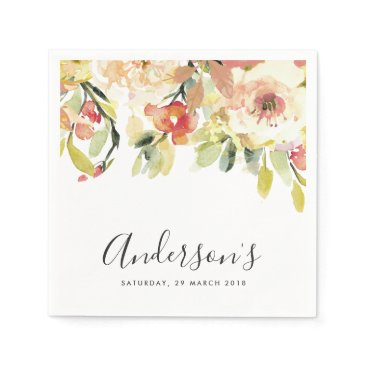 Bride Themed SUBTLE PEACH PINK WATERCOLOR FLORAL PERSONALIZED NAPKIN