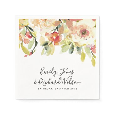 SUBTLE PEACH PINK WATERCOLOR FLORAL PERSONALIZED NAPKIN
