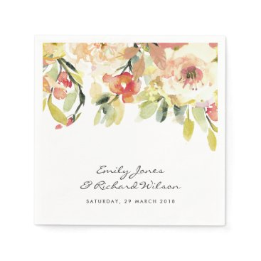 Bride Themed SUBTLE PEACH PINK WATERCOLOR FLORAL PERSONALIZED PAPER NAPKIN