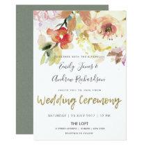 SUBTLE PEACH PINK WATERCOLOR FLORAL WEDDING CARD