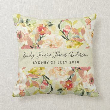 Bride Themed SUBTLE PEACH WATERCOLOR  FLORAL SAVE THE DATE GIFT THROW PILLOW