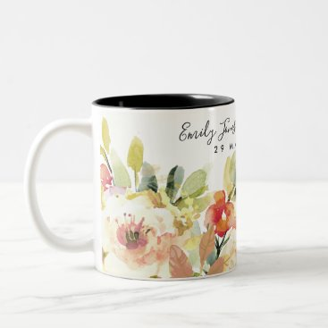 Bride Themed SUBTLE PEACH WATERCOLOR FLORAL SAVE THE DATE GIFT Two-Tone COFFEE MUG