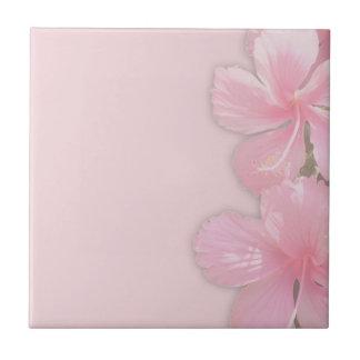 Subtle Pink Hawaiian Hibiscus Flowers Ceramic Tile