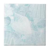 Subtle sea shells Graphic Art Tile