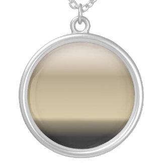 Subtle Shades of Beige to Black Ombre Gradient Round Pendant Necklace