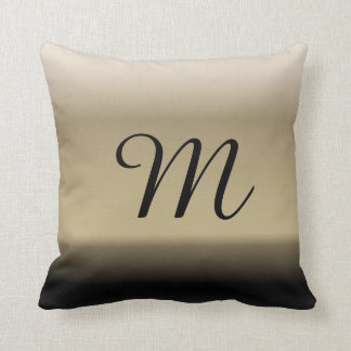 Subtle Shades of Beige to Black Ombre Gradient Throw Pillow