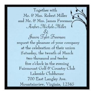 Subtle Stems Blue Wedding Invitation