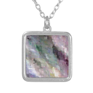 Subtle Stormy Pixelated  Pop Abstract Silver Plated Necklace