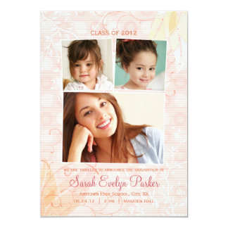 Subtle Swirls 3 Photo Graduation Announcement
