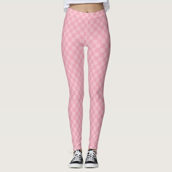 Subtle two toned pink chequerboard leggings