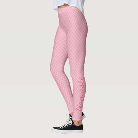 Subtle two toned pink chequerboard with Namaste Leggings