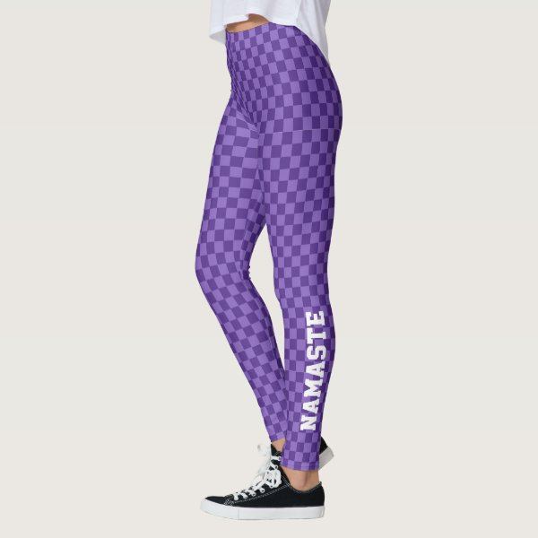 Subtle two toned purple chequerboard with Namaste Leggings