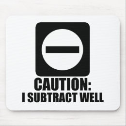 Subtract 1 Black Mouse Pad