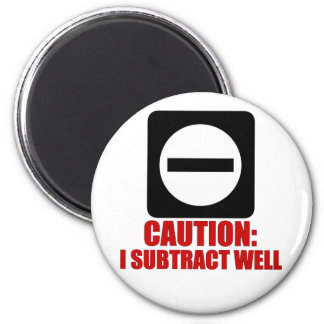 Subtraction 1 Red 2 Inch Round Magnet